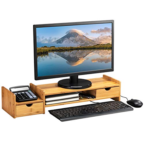AbocoFur Bamboo Classic 2-Tier Monitor Stand Riser with 2 Storage Drawers, Office&Home Retro Shelf Organizer for Laptop, Desktop Computer, Cellphone, Printer, Light Brown