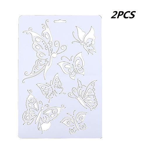 2 x Schmetterlings-Schablonen für Wände, Malen, Scrapbooking, Stempel, Album, dekorative Prägepapier, Karten, DIY Bastelwerkzeuge