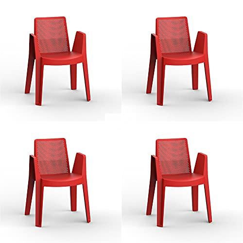RESOL Play Set 4 Sillas de Jardín Apilables con Reposabrazos y Respaldo Ventilado   Terraza, Patio, Balcón, Comedor Exterior   Ligera y Resistente   Diseño Moderno - Color Rojo