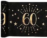 Santex 6787-60-30, Runner da tavolo, età scintillante in metallo, colore: nero/oro, 60 anni