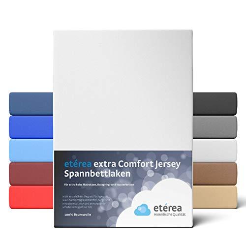 etérea Extra Jersey Spannbettlaken 180x200 bis 200x220 cm - Spannbetttuch für Boxspringbetten, Wasserbetten und Normale Matratzen, aus 100% Baumwolle und ca. 35 cm Steghöhe, Weiss