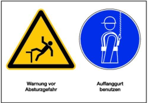 LEMAX® Schild PVC Mehrsymbolzeichen Warnung vor Absturzgefahr + Auffanggurt benutzen 148x210mm