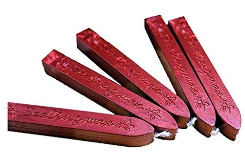 XICHEN® - Barras de cera para lacrar, color 5 unidades rojo vino