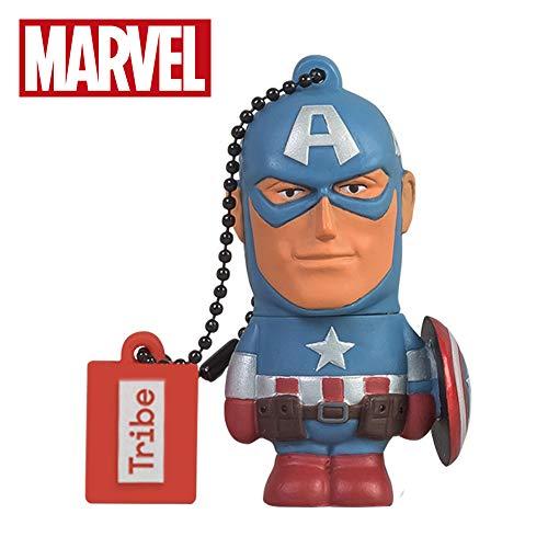 Oferta de Llave USB 16 GB Captain America - Memoria Flash Drive 2.0 Original Marvel Avengers, Tribe FD016501