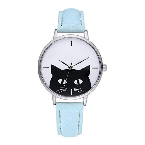 Reloj de pulsera informal para mujer, diseño de gato con esfera plateada, reloj de cuarzo simple con correa de PU