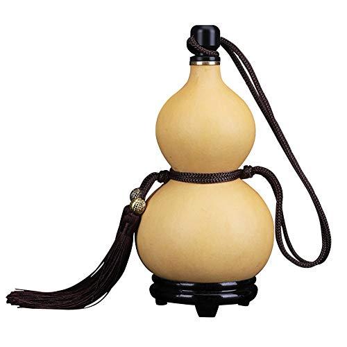 Natürliche Kürbis Krug Flaschenkürbis-Hüfte-Flasche Hip Flask Holz Stecker Bienenwachs Anti-Versickerung Craft Anhänger Leak Proof große Kapazitäts-Wassertank Geschenke for Herren (Size : 300-400ML)