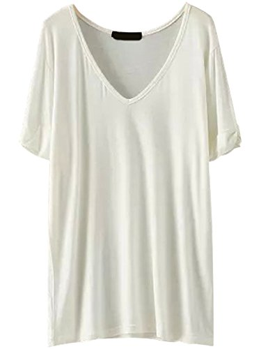 SheIn Women's Summer Short Sleeve Loose Casual Tee T-Shirt White XX-Large