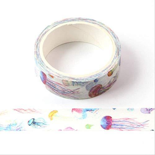 YMKCBB Cinta De Papel 1X 5M Cuadrícula Colorida Washi Tape Hobby House Paper DIY Planner Cinta Adhesiva Cintas Adhesivas Pegatinas Papelería Decorativa CintasE14