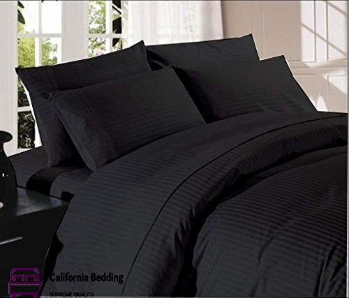 Hotel Bedding 800 TC Long-Staple Egyptian Cotton 5-Piece Split Bed Sheet Set King Size Fits Mattress Up 16 to 18 Inch Deep Pocket Sateen Weave, Soft Cotton, Black Striped