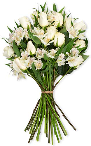 Benchmark Bouquets Elegance Roses and Alstroemeria, No Vase (Fresh Cut Flowers)
