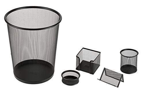 Idena 10516 Ensemble de bureau en métal avec corbeille à papier, porte-stylos, boîte à mémo et boîte à lettres Noir 5 pièces