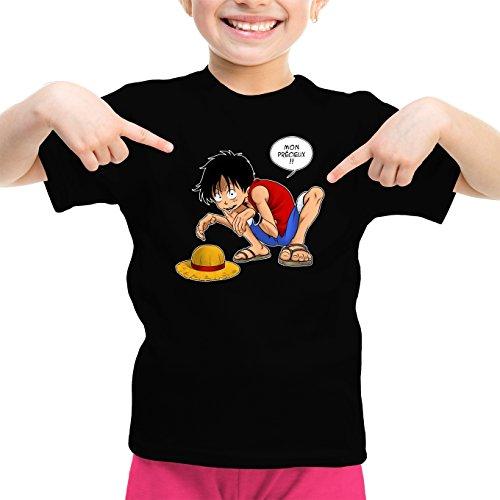 T-Shirt Enfant Fille Noir Parodie One Piece et Seigneur des an. - Luffy et Gollum - Mon Précieux ! (T-Shirt Enfant de qualité Premium de Taille 5-6 Ans - imprimé en France)