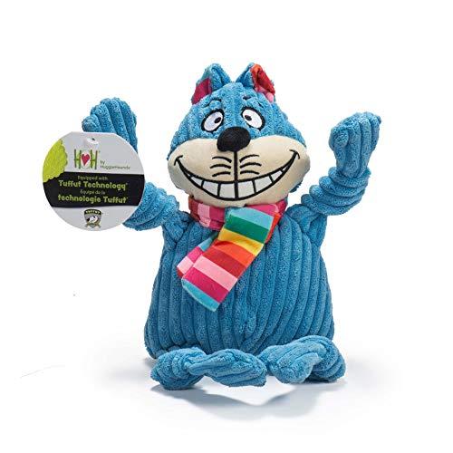 HuggleHounds Hundespielzeug aus Cord mit Quietschelement, für Aggressive Kauer, Regenbogen-Katze, groß