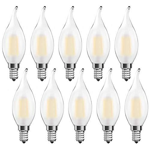 Ampoule LED E14 à Filament Dimmable, Lot de 10 Ampoules Flamme, E14 4 Watts Consommés Equivalence Incandescence 40W, 2700K Blanc Chaud et 400LM, Angle de Faisceau 360°,Dimmable