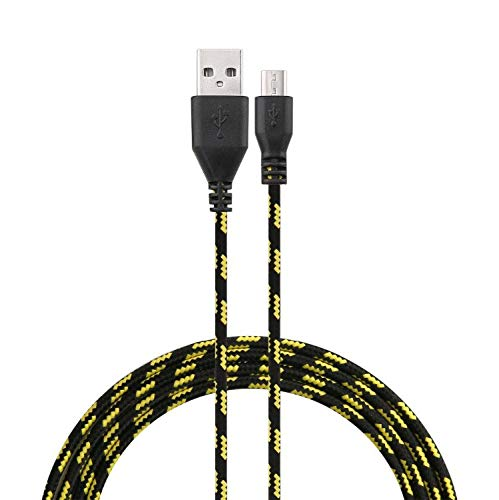 Shot Case Cable Trenzado para Alcatel Idol 5 3M Universal Cargador Conector Micro USB de Nailon (Negro)
