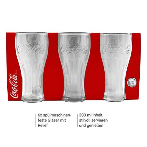 Kemes Coca Cola Gläser 6 Stück Longdrinkglas 300 ml Set Stück Glas Softdrink 0,3 Liter Trinkglas Glasset