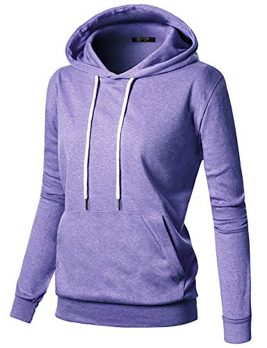 GIVON Womens Comfortable Long Sleeve Lightweight Pullover Hoodie With Kanga Pocket/DCF019-LAVENDER-XS