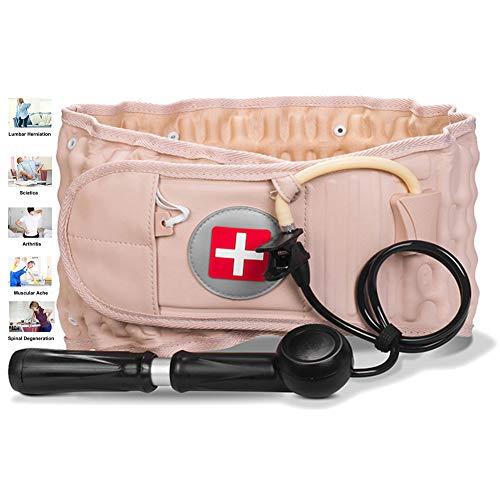 XTT CinturóN Lumbar Inflable Uso terapéutico para Dolor de Espalda y Alivio del estrés Muscular Faja Lumbar para la Espalda para Hombres/Mujer con Tirantes