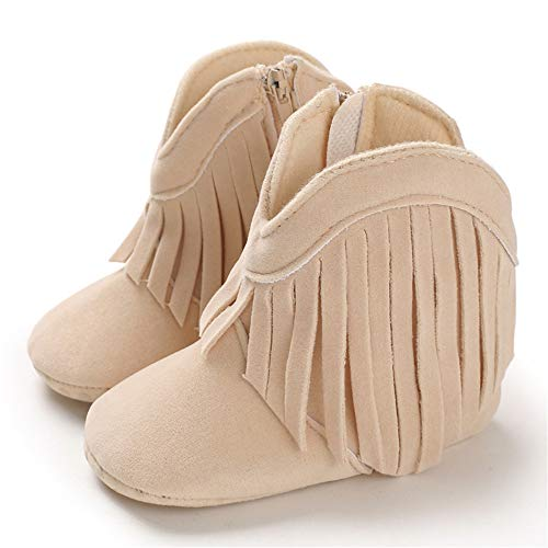 TIMATEGO Baby Girl Cowboy Tassel Boots Side Zipper Non Slip Stay On Booties Infant Toddler First Walker Warm Winter Crib Shoes 3-18 Months, Baby Girl Boots 3-6 Months Infant, 02 Beige