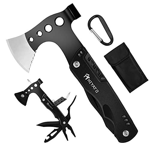 HIYATO Multitool 14 in 1 Survival Kit Geschenk für Männer, mit Axt Karabiner, Taschenmesser, Schraubendreher, Hammer, Kombizange für Camping, Wandern