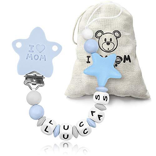 RUBY - Chupetero Personalizado para Bebé con Nombre Bola Silicona Antibacterianam, Pinza con Agujero Anti-asfixia, Chupetero Estrella (Azul)