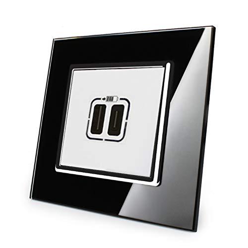 Livolo USB-oplaadstekkerdoos 2 type C & type A stekker inclusief glazen frame in zwart LEG-077592-VL-C7-SR-12 USB-doos voor mobiele telefoon oplaadaansluiting