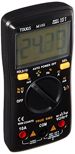 TOUGS M102 Compact True-RMS Digital Multimeter Auto-Ranging 6000 Counts Electronic Measuring Instrument Multi Meter with Self-Calibration Chip and Backlight,Black
