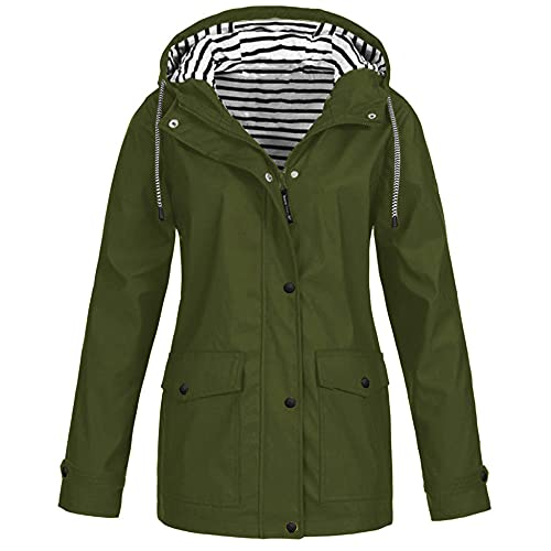 Fato de alpinismo ao ar livre, capa de chuva de uma peça, jaqueta da moda três em um capa de chuva de duas peças feminino-militar verde_S
