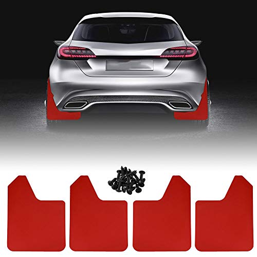 Ruien Car Mud Flaps Universal Fit Red Splash Guards (4 Pack) with 20 Pieces 6mm Fastener Rivet Clips