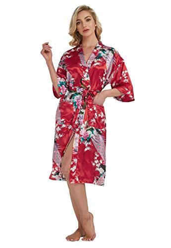 Westkun Kimono Japones Mujer Albornoz Vestido de Satén Pavo Real Novia Pijamas Largo Sexy y Elegante de Seda Bata Camisón Robe Lencería Cardigan(Rojo,S)