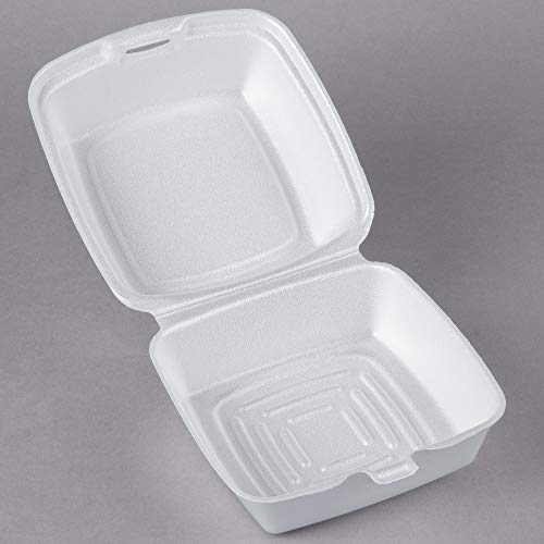 Dart 60HT1, 6x6x3-Inch Performer White Rectangular Sandwich Foam Container With A Hinged Lid, Carryout Food Disposable Snack Containers (50)