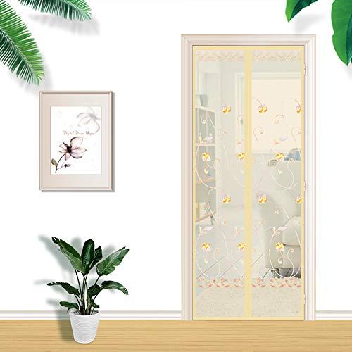 Anti-Moskito-Verschlüsselung Stummschaltfenster Sommer neue magnetische Softscreen-Tür, Klettverschluss + Stecknadel-beige-90x200 cm (WxH)