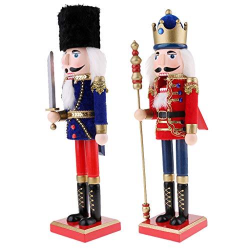 Sharplace 2pcs Casse-Noisette en Bois Figurine Marionnette Multicolore Peint à La Main Objets de décoration pour Maison Table - Roi + Soldat