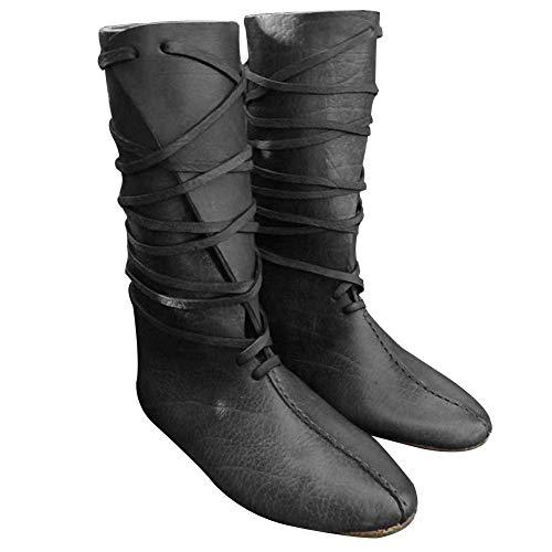 Guiran Herren Mittelalter Schuhe Stiefel Piratenstiefel Für Halloween Und Motto-Partys Schwarz 43CM