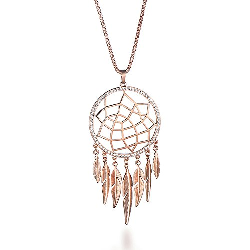 Ouran Fashion Necklace for Women, Dreamcatcher Pendant Necklace with Feather Girls Long Chain Necklace Shining Rhinestone Necklace (Rose Gold)