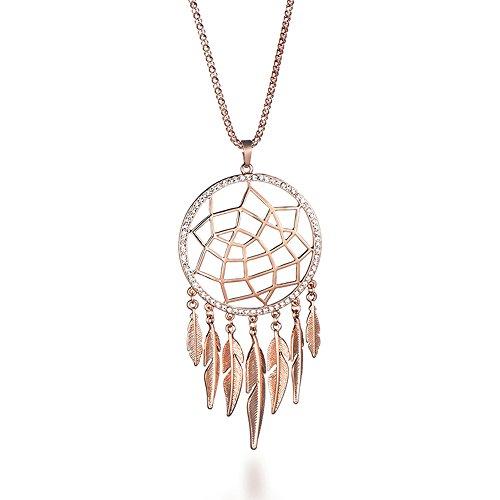 Mode Halskette für Frauen, Dreamcatcher Anhänger Halskette mit Feder Mädchen lange Kette Halskette (Roségold)