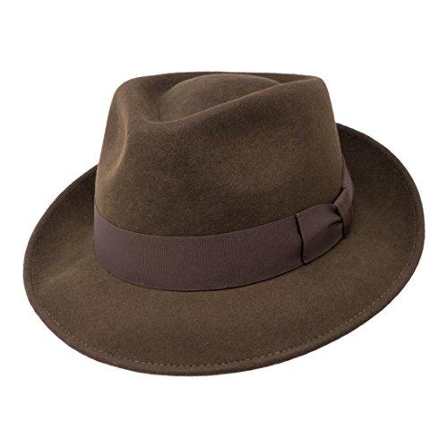 Borges & Scott B&S Premium Doyle - Teardrop Fedora Hut - 100% Wollfilz - perfekt zum Reisen - was-serabweisend - Unisex - 58cm Dunkelbraun