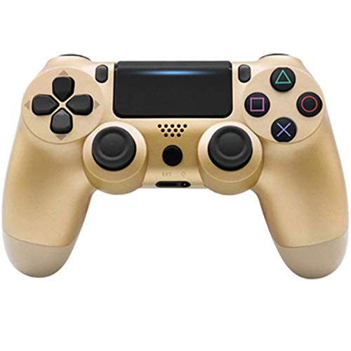 PS4-Controller, Spielekonsole, PS4, ergonomisch, kabellos, Bluetooth, mit LED-Beleuchtung und Vibrationsfunktion (Farbe: Gold)