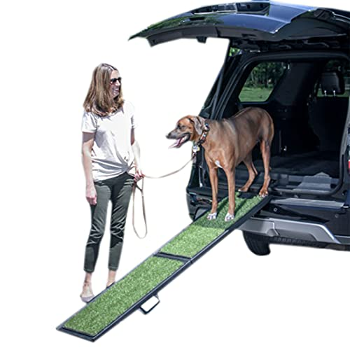 Rampa Plegable para Perros, con Diseño Antideslizante De Alfombra De Hierba Falsa, Escalera De Asistencia para Mascotas, Dos Opciones De Tamaño, Adecuada para Automóvil,L