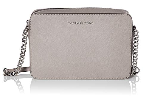 Zip top closure with Logo front; 1 open large compartment; 2 Slide pockets Adjustable Chain and Leather shoulder strap with 25.5 Inches drop Logo jacquard lining; Silver hardware Measurements: Length: 9.5 x Height: 6.25 x Width: 2 Inches Comes with o...