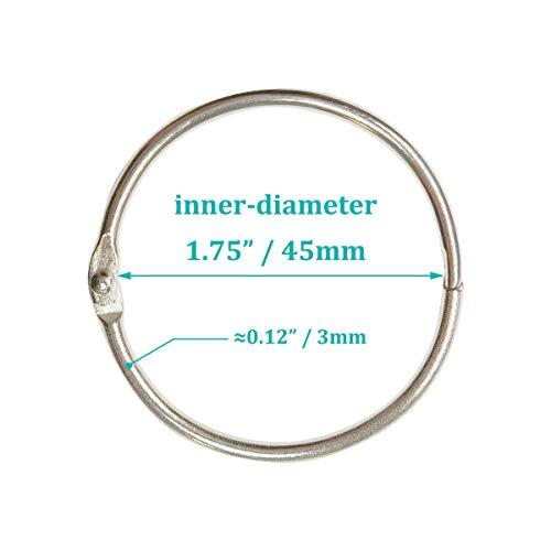 Loose Leaf Binder Rings 1.75 Inch (20 Pack) Silver Office Book Rings, Metal Binder Rings, Nickel Plated Steel Binder Rings for School, Office and Home