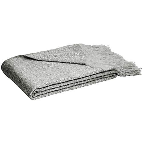 Amazon Basics - Manta con flecos de lana de Angora de imitación, Gris, 130 x 170 cm