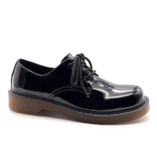 Angkorly - Zapatillas Moda Zapato Derby Bowling Suela Grande Punk Mujer Barnizado Bloque 3,5 CM - Negro PU BH302 T 39