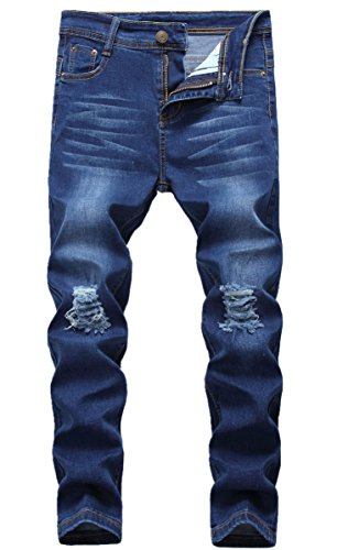 CLOTPUS Boy's Black Skinny Ripped Jeans Slim Fit Distressed Destroyed Stretch Pants Denim Blue 6
