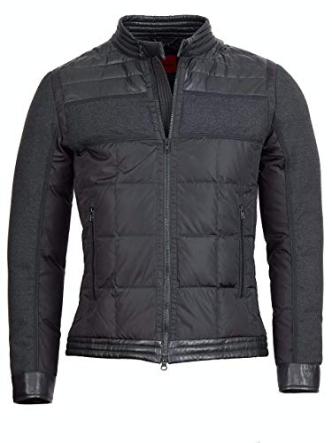 Offset Gesteppte Jacke aus Leder und Nylon Santo (Black, 50)