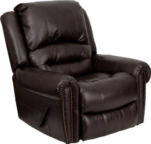 Flash Furniture Plush Brown Leather Lever Rocker Recliner