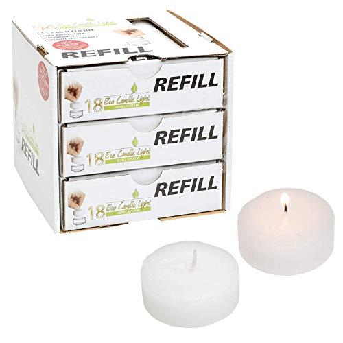Smart-Planet® Świece Ambiente — 54 x surowy wosk do napełniania podgrzewaczy ECO obudowa z tworzywa sztucznego — świeca Refill — świeczki typu tealight białe — ekologiczne