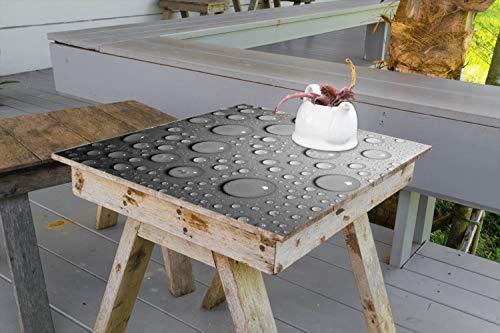 Wallario Aufkleber Selbstklebende Garten-Tisch-Decke - Wassertropfen in schwarz weiß in 60 x 60 cm
