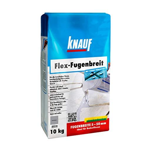 Knauf Flex-Fugenbreit Spezial-Fugenmörtel, schlämm- und gießfähig, für Fugenbreiten von 5 – 50 mm, schmutzabweisend, schnell begehbar, für Böden im Innen-Bereich und Außen-Bereich, Zement-Grau,10-kg