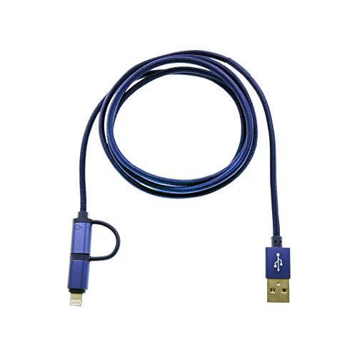 Cable USB 2 en 1 Lightning y USB-C cable cargador batería y transferencia de datos compatible con iPhone Samsung Smartphone Tablet Longitud 120 cm Azul